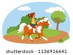 little girl riding pony in...   Shutterstock .eps vector #1136916641