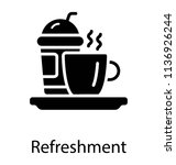 different hot and cold drink in ... | Shutterstock .eps vector #1136926244