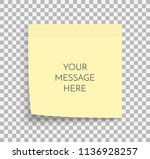 post note paper sheet. sticky... | Shutterstock .eps vector #1136928257