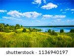 summer green nature river shore ... | Shutterstock . vector #1136940197