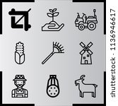 simple 9 icon set of farm... | Shutterstock .eps vector #1136946617