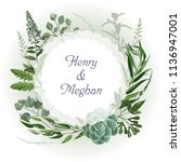 wedding invitation frame  with... | Shutterstock .eps vector #1136947001