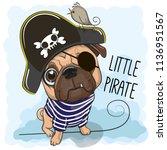 cute cartoon pug dog in a... | Shutterstock .eps vector #1136951567