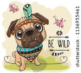 cute cartoon tribal pug dog and ... | Shutterstock .eps vector #1136955461