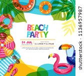 beach party vector summer... | Shutterstock .eps vector #1136957987