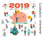 happy new year. 2019. symbol of ... | Shutterstock .eps vector #1136960171