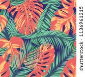 summer exotic floral tropical... | Shutterstock .eps vector #1136961215
