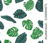 seamless hand drawn botanical... | Shutterstock .eps vector #1136964071
