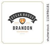 grill restaurant logo vector... | Shutterstock .eps vector #1136986181