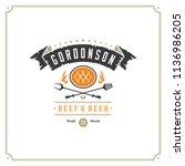 grill restaurant logo vector... | Shutterstock .eps vector #1136986205