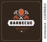 grill restaurant logo vector...   Shutterstock .eps vector #1136986814