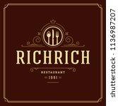 restaurant logo template vector ... | Shutterstock .eps vector #1136987207