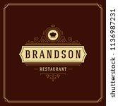 restaurant logo design vector... | Shutterstock .eps vector #1136987231