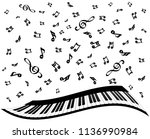 piano keys and music notes on... | Shutterstock .eps vector #1136990984