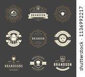 restaurant logos design... | Shutterstock .eps vector #1136992217