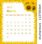 2013 Year Calendar  March With...