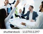 happy business people...   Shutterstock . vector #1137011297