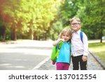 happy children go back to... | Shutterstock . vector #1137012554