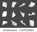 flying sheets of paper. falling ... | Shutterstock .eps vector #1137013001