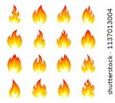 fire flame icon set. bright red ... | Shutterstock .eps vector #1137013004