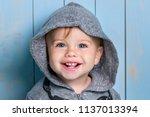 sweet baby boy  closeup... | Shutterstock . vector #1137013394