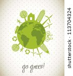 green ecology icons over planet ... | Shutterstock .eps vector #113704324