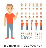front  side  back view animated ... | Shutterstock .eps vector #1137043487