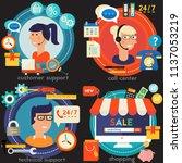 online shopping  customer and... | Shutterstock .eps vector #1137053219