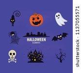 halloween elements.happy... | Shutterstock .eps vector #1137055571