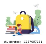 back to school. schoolboy read... | Shutterstock .eps vector #1137057191