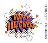 phrase happy halloween in pop... | Shutterstock .eps vector #1137058151