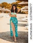 hot sexy brunette in a...   Shutterstock . vector #1137060077