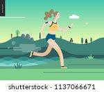 runners   a woman running in... | Shutterstock .eps vector #1137066671