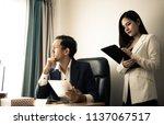 boss and secretary is stress... | Shutterstock . vector #1137067517