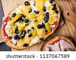 italian cuisine  bruschetta | Shutterstock . vector #1137067589