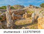 trepuco talaiotic village ruins ... | Shutterstock . vector #1137078935