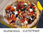 homemade hot pizza with...   Shutterstock . vector #1137079469