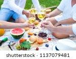 summer picnic basket on the...   Shutterstock . vector #1137079481