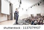 speaker speaks at a business... | Shutterstock . vector #1137079937