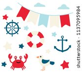 vector set of nautical images. | Shutterstock .eps vector #1137095984