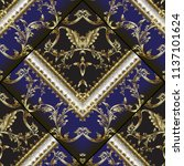 3d gold baroque embroidery... | Shutterstock .eps vector #1137101624