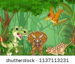 cartoon happy dinosaurs in the...   Shutterstock .eps vector #1137113231