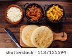 arepas and its ingredients seen ...   Shutterstock . vector #1137125594