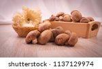 shitake mushroom for cooking   Shutterstock . vector #1137129974