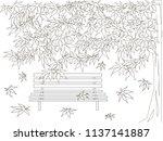maple tree  bench  falling... | Shutterstock .eps vector #1137141887