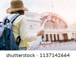 travel concept. young woman... | Shutterstock . vector #1137142664
