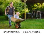happy little boy having fun in... | Shutterstock . vector #1137149051