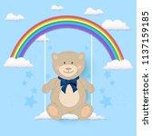teddy bear sitting on swing of...   Shutterstock .eps vector #1137159185