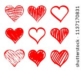 set of stylized hearts. vector... | Shutterstock .eps vector #1137170831