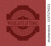 weightlifting badge with red... | Shutterstock .eps vector #1137174221